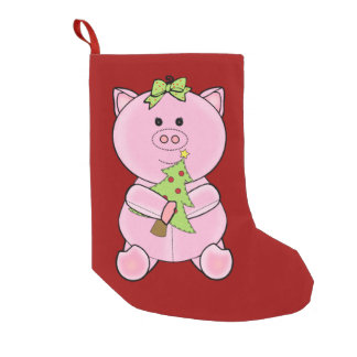 Christmas Tree Pig Stocking Small Christmas Stocking