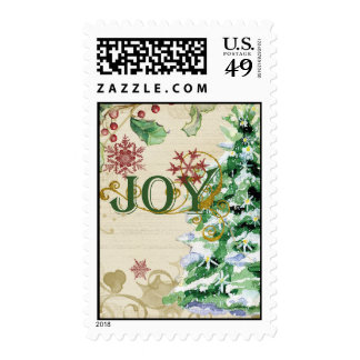 Christmas Tree Pine Cone Joy Snowflake Collage Stamp