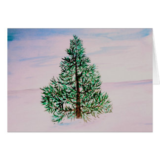 Christmas Tree pine tree in the snow holiday card