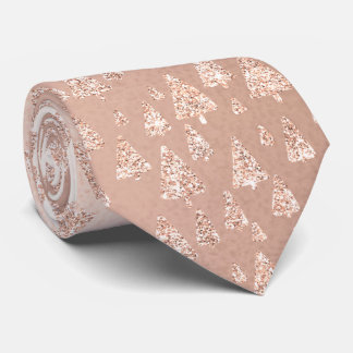 Christmas Tree Pink Rose Gold Glitter Sparkly Glam Neck Tie