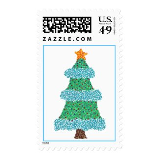 Christmas tree, pointillism blue garland stamps