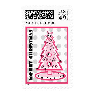Christmas Tree - Polka Dot And Pink Postage