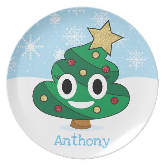 Christmas Tree Emoji.Christmas Tree Poop Emoji Kids Plate