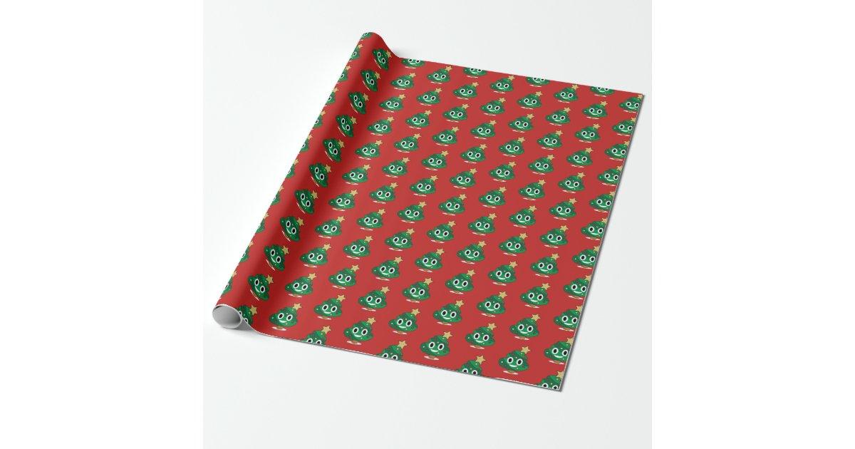 Christmas Tree Poop Emoji Wrapping Paper Zazzle Com