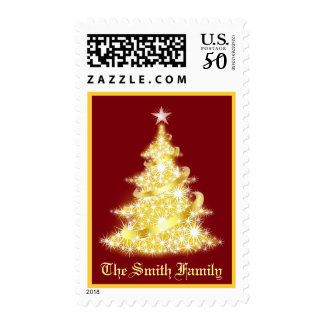 Christmas Tree Postage with Family Name
