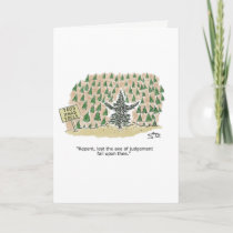 Christmas tree preacher greeting card