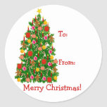 Christmas Tree Present Labels  Classic Round Sticker