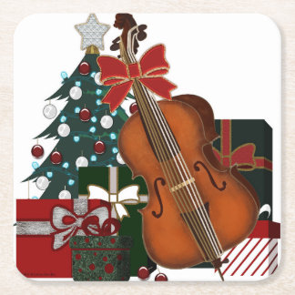 Christmas Tree Presents and Bass Viol Graphic Square Paper Coaster