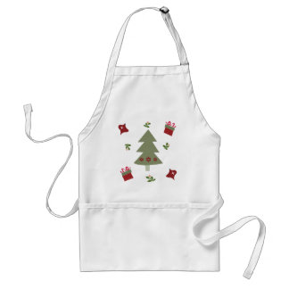 Christmas Tree Presents and Holly Adult Apron
