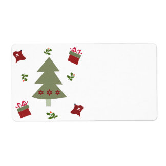 Christmas Tree Presents and Holly Shipping Label