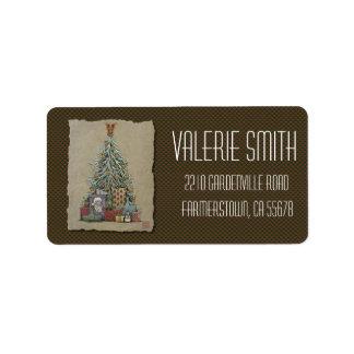 Christmas Tree & Presents Label