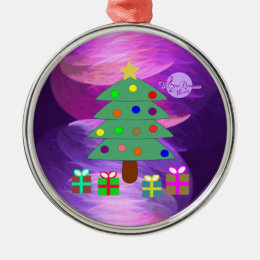 Christmas Tree & Presents Silver Round Ornament