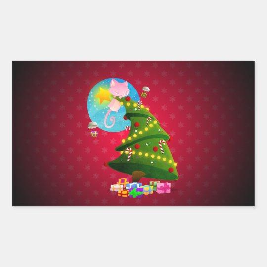 Christmas Tree Rectangular Sticker