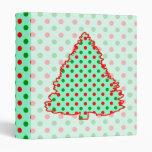Christmas Tree: Red and Green Polka Dots 3 Ring Binder