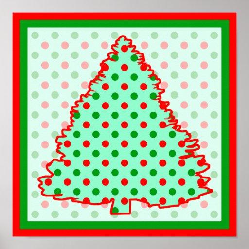 Christmas Tree: Red and Green Polka Dots Poster