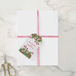 Christmas tree, red berries, snow gift tags