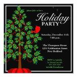 Christmas Tree Red Bird Party Invitation