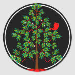 "Christmas Tree Red Bird Round Sticker<br><div class=""desc"">A pretty little red cardinal perches in this evergreen tree.  Makes a beautiful seal on your holiday envelopes and matches perfectly with our Holiday Party Invitation and address labels in the same design.</div>"