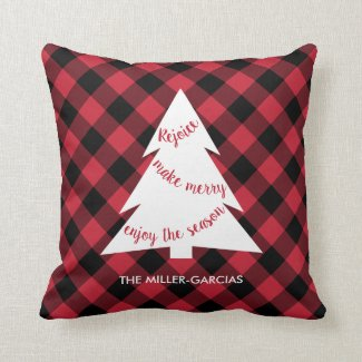 Christmas Tree Red Black Buffalo Plaid Custom Name Throw Pillow