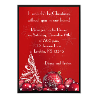 Christmas Tree Red Dinner Party Invitation