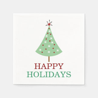 Christmas Tree Red Green Typography Holiday Paper Napkin