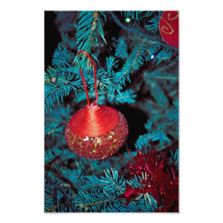 Christmas tree red ornament photo