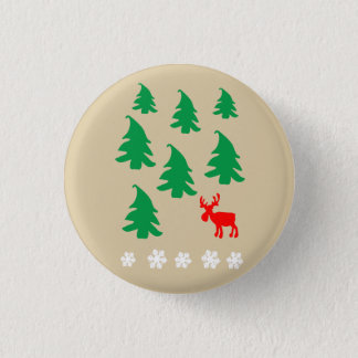 Christmas tree, reindeer, snowflake pinback button