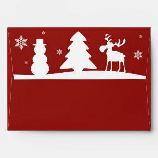 Christmas Tree Reindeer Snowman - Envelope A7