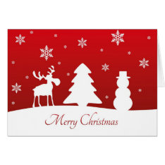 Christmas Tree Reindeer Snowman - Greeting Card at Zazzle