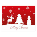 Christmas Tree Reindeer Snowman - Postcard