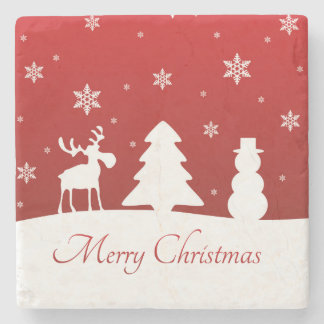 Christmas Tree Reindeer Snowman - Stone Coaster