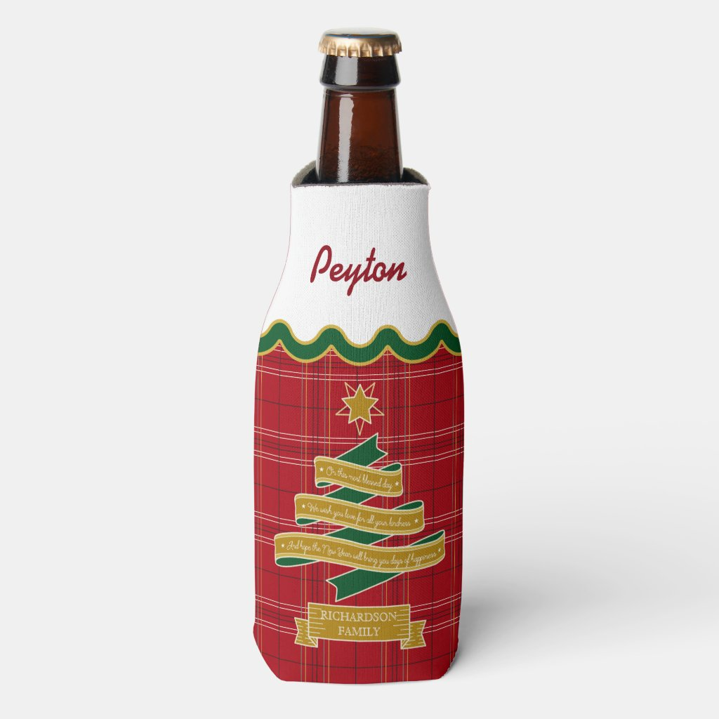 Christmas Tree Ribbon Red Plaid Scallop Banner Bottle Cooler