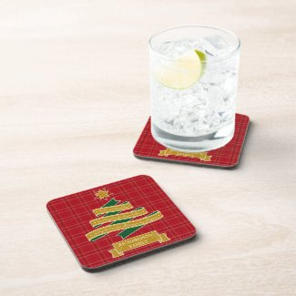 Christmas Tree Ribbon Red Plaid Star Custom Banner Beverage Coaster