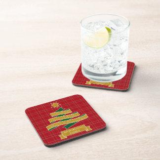 Christmas Tree Ribbon Red Plaid Star Custom Banner Beverage Coaster