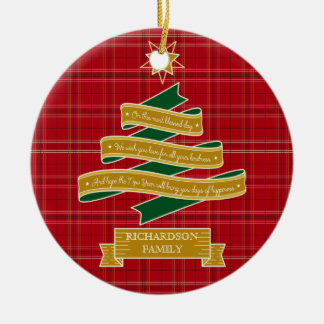Christmas Tree Ribbon Red Plaid Star Custom Banner Ceramic Ornament