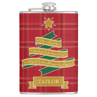 Christmas Tree Ribbon Red Plaid Star Custom Banner Hip Flask