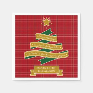 Christmas Tree Ribbon Red Plaid Star Custom Banner Napkin