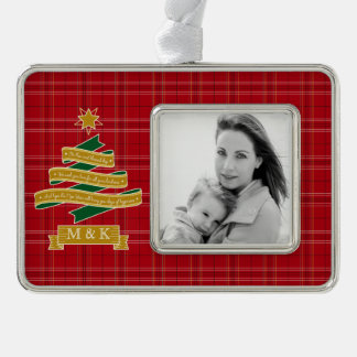 Christmas Tree Ribbon Red Plaid Star Custom Banner Ornament