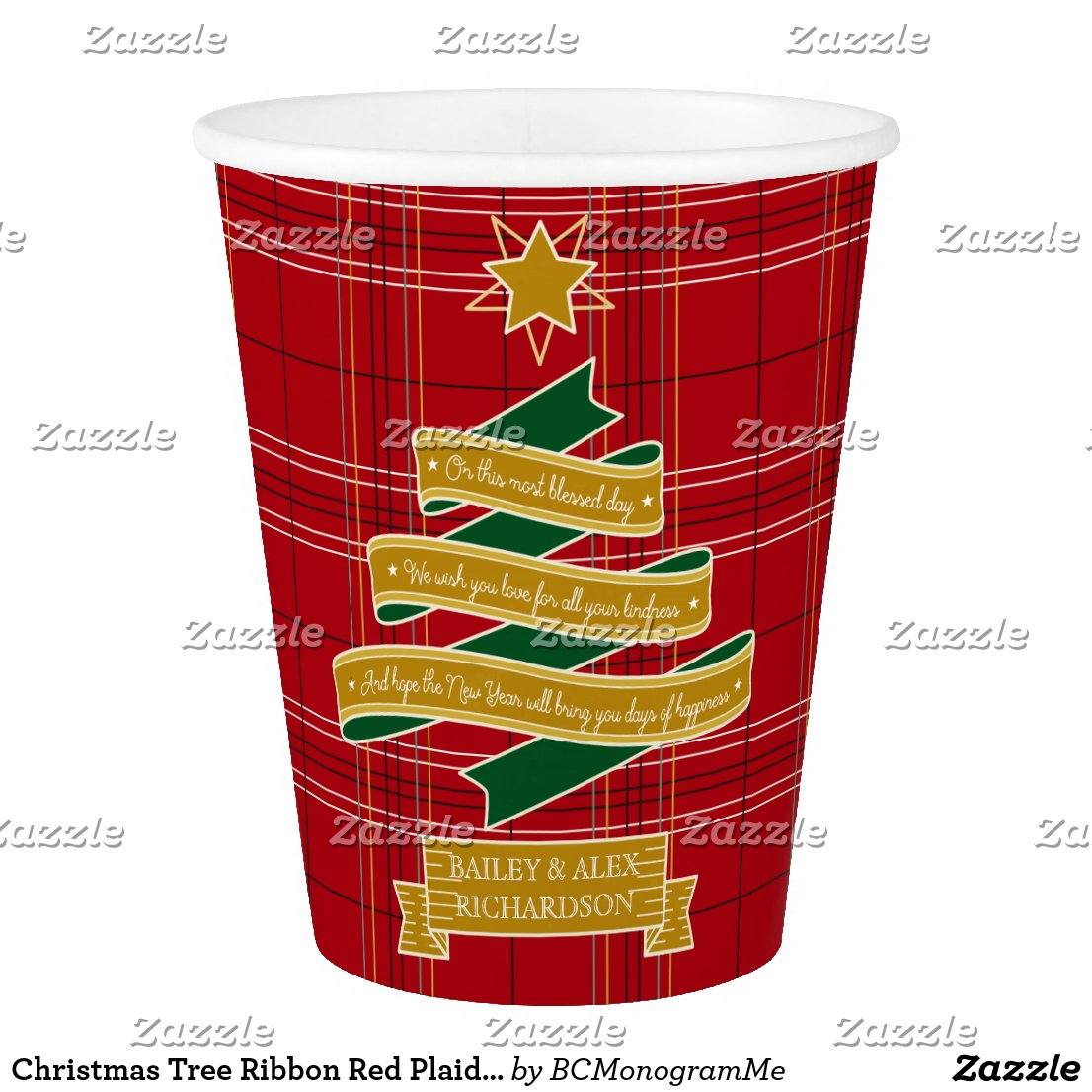 Christmas Tree Ribbon Red Plaid Star Custom Banner Paper Cup