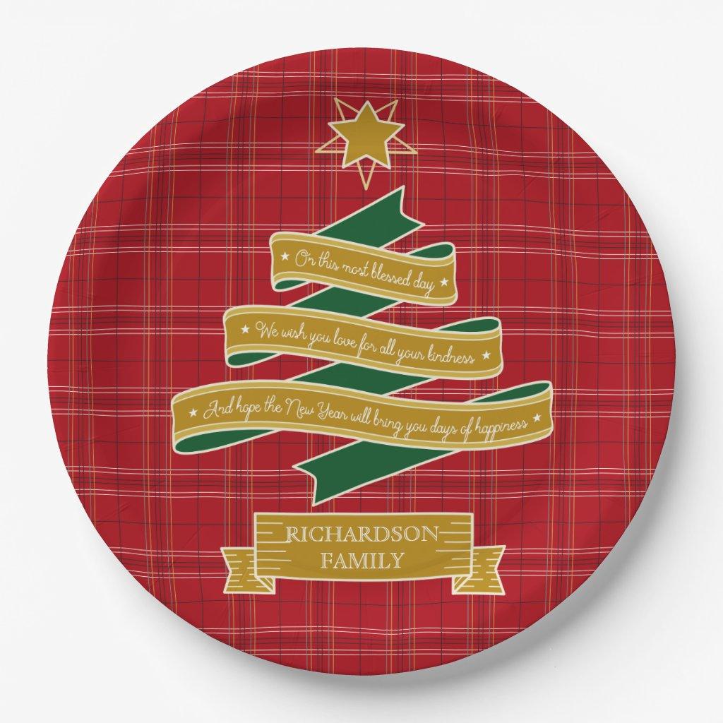 Christmas Tree Ribbon Red Plaid Star Custom Banner Paper Plate