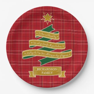 Christmas Tree Ribbon Red Plaid Star Custom Banner Paper Plate