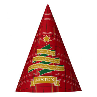 Christmas Tree Ribbon Red Plaid Star Custom Banner Party Hat