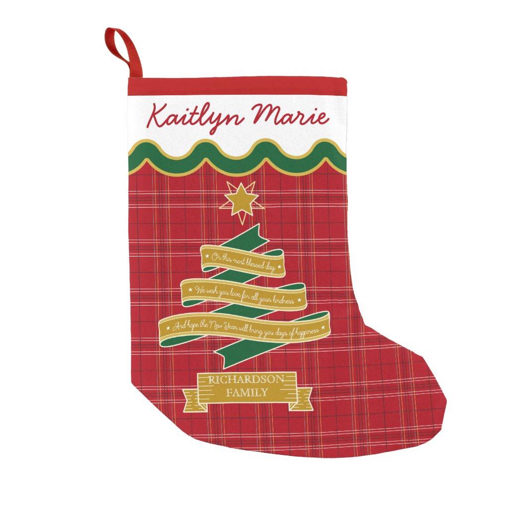 Christmas Tree Ribbon Red Plaid Star Custom Banner Small Christmas Stocking