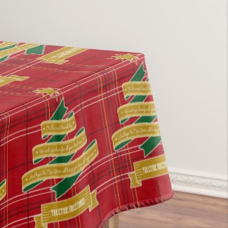 Christmas Tree Ribbon Red Plaid Star Yuletide Gold Tablecloth