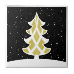 Christmas Tree Ribbons Snowy Sky Gold Small Square Tile