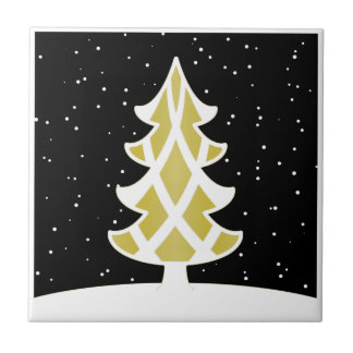 Christmas Tree Ribbons Snowy Sky Gold Tile