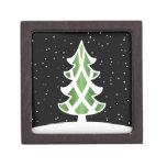 Christmas Tree Ribbons Snowy Sky Green Premium Keepsake Box
