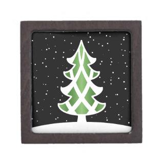 Christmas Tree Ribbons Snowy Sky Green Premium Keepsake Boxes
