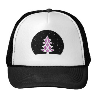 Christmas Tree Ribbons Snowy Sky Purple Mesh Hat