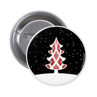 Christmas Tree Ribbons Snowy Sky Red Pinback Button